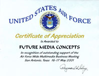 FMC is Awarded a USAF Certificate of Appreciation